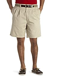 Harbor Bay Big & Tall Waist-Relaxer Pleated Twill Shorts (54 Reg, Khaki)