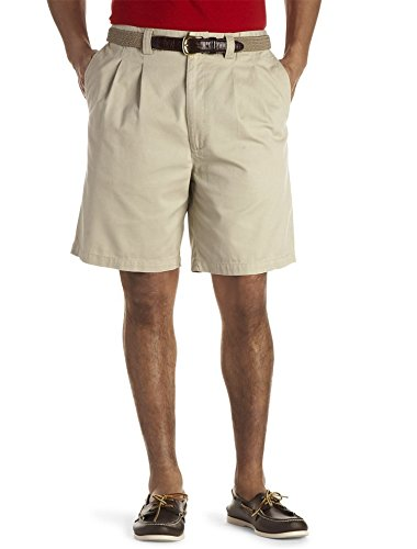Harbor Bay Big & Tall Waist-Relaxer Pleated Twill Shorts (48 Reg, Khaki)