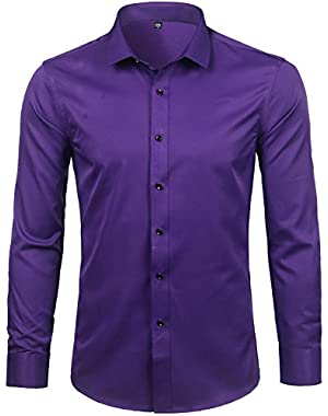 Mens Hipster Elastic Bamboo Fiber Dress Shirts Slim Fit Long Sleeve Casual Button Down Shirts for Men
