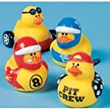 One Dozen (12) Race Car Driver Rubber Duckys
