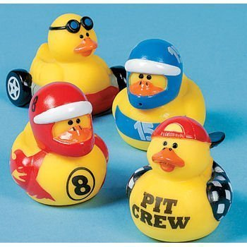 One Dozen (12) Race Car Driver Rubber Duckys by OTC