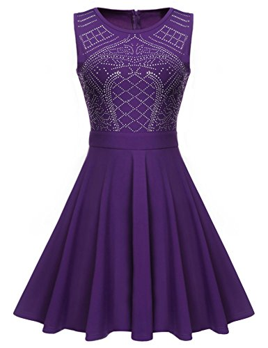 ELEOSL Women Rhinestones Fall Wedding Guest Dress A Line Knee Length Evening Party Dress - Purple Dress Wedding Guest