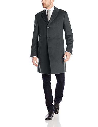 Kenneth Cole REACTION Men's Raburn Wool Top Coat, Charcoal, 44 Regular