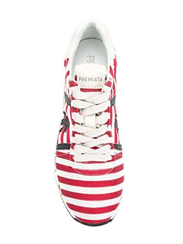 PREMIATA Beth - Zapatillas de Tela Para Mujer Blanco Blanco/Rojo