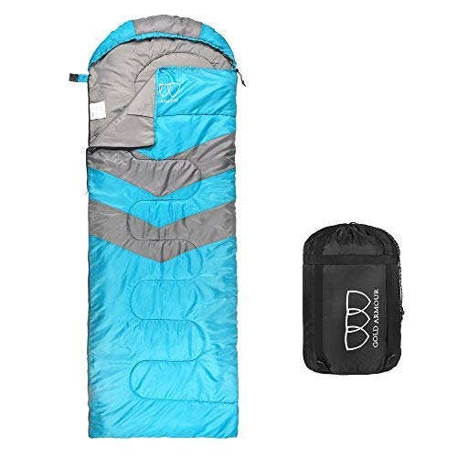 Sleeping Bag – Sleeping Bag for Indoor & Outdoor Use - Great for Kids, Boys, Girls, Teens & Adults. Ultralight and Compact Bags are Perfect for Hiking, Backpacking & Camping (Sky Blue / Gray)