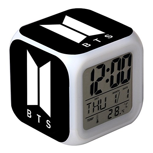 Youyouchard BTS Wake Up Alarm Clock Digital LED Clock Smart Nightlight, 7 Color Change & 8 Ringtones,Optional Weekday Mode,Temperature and Touch Control Sleep and Snooze Function(H05)