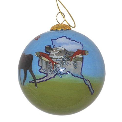 Hand Painted Glass Christmas Ornament - Alaska State Images (Christmas Alaska Ornament)