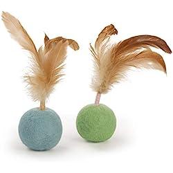 SmartyKat Felty Fun Set of 2 Wool Felt & Feather Balls Cat Toys