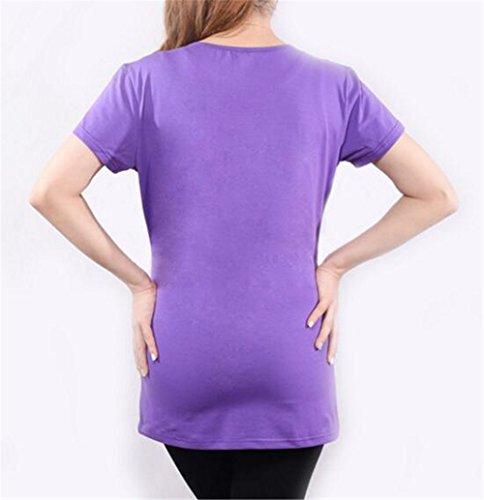 Estive Magliette Purple4 Donna Manica Bluse Shirt Gravidanza Corta Camicetta Stampa Kerlana T Top Premaman Magliette Divertente FEqwp