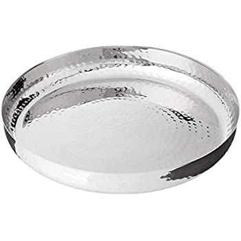 Elegance 72576 Hammered Stainless Steel Round Tray, 13