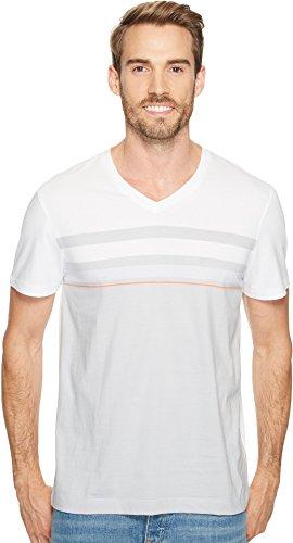 Calvin Klein Men's Short Sleeve allover Engineer Stripe Tee White Wash T-Shirt (Engineer Short T-shirt Sleeve)