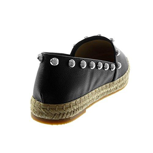 Nero 5 Espadrillas Slip Moda Tacco 2 Corda Perla Angkorly Cm Scarpe Donna Blocco Borchiati A on Zwpaaq