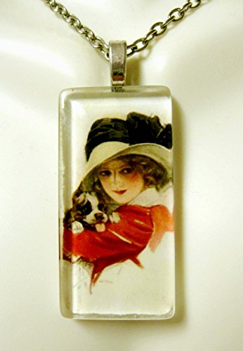 (Girl with puppy pit bull glass pendant - DGP02-417 - Harrison Fisher)