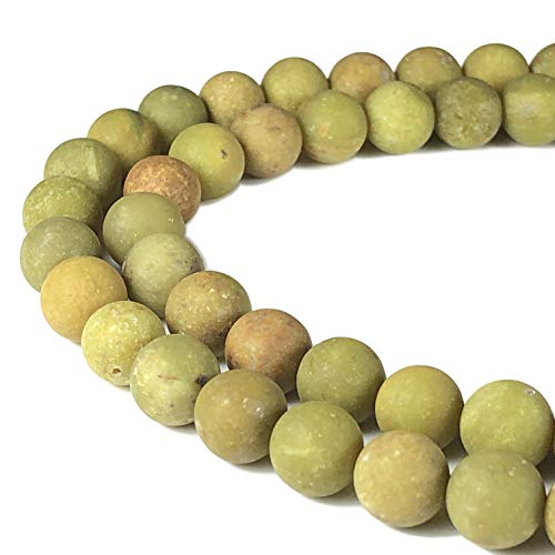 - [ABCgems] Rare Matte Australian Olive Opal 8mm Smooth Round Beads for Beading & Jewelry Making
