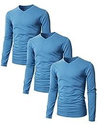 Mens Casual Long Sleeve V-neck T-Shirts Premium Soft Cotton Fabric