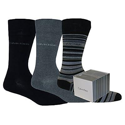 Calvin Klein 3-Pack Stripes & Solid Men's Socks Gift Box, Navy/Grey Mix