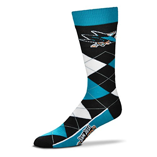 For Bare Feet NHL Argyle Lineup Unisex Crew Dress Socks-One Size Fits Most-San Jose Sharks (San Jose Sharks Hockey Socks)