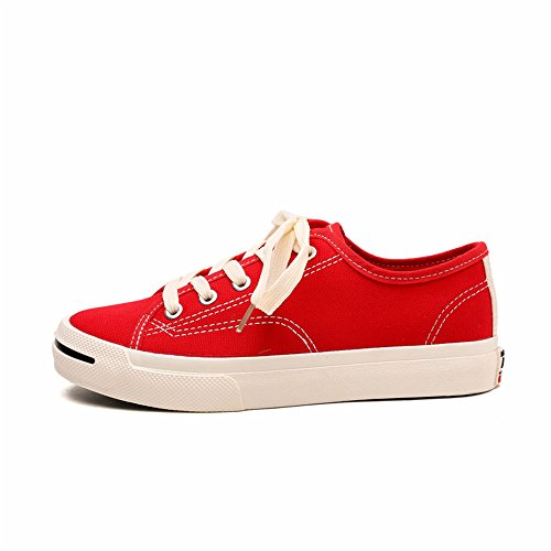 (Women's Classic Closed Cap Toe Lace-Up Canvas Low Top Fashion Sneaker(Red-35/4.5 B(M) US Women) )