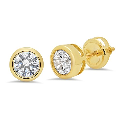1ct BRILLIANT ROUND CUT Simulated Diamond CZ Solitaire Bezel Set Stud Earrings 14k Yellow Gold Screw Back - Set Earrings Bezel Drop