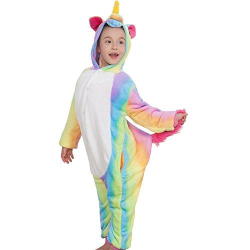 Meeyou Kids Unicorn Costume, Animal Onesie Pajamas for Boys & Girls (7-8, Rainbow)