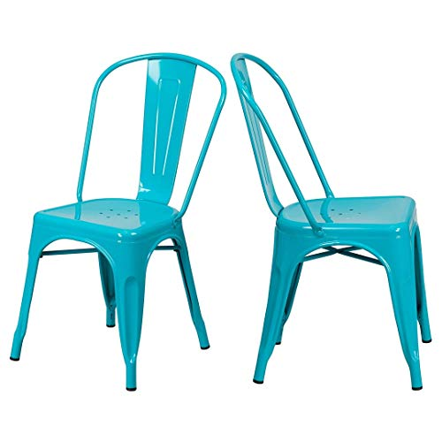 Cheap KLS14 Modern Vintage Style Premium Metal Construction Bar Stool Comfortable Vertical Slat Curved Back Stackable Design Side Chair Indoor-Outdoor Home Office Decor Furniture - Set of 2 Teal Blue #2020 supplier