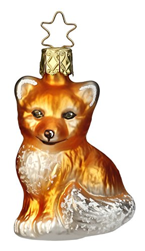 Inge Glas Fox Fox Pup 1-019-15 German Blown Glass Christmas Ornament Gift Box