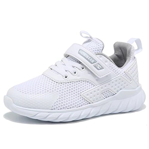GUBARUN Kids Running Shoes Boys and Girls Lightweight Comfortable Walking Sneakers(1, White)
