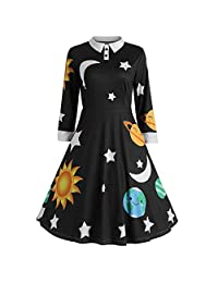 Clearance Women Vintage Peter Pan Collar Planet Print A Line Flare Party Dress