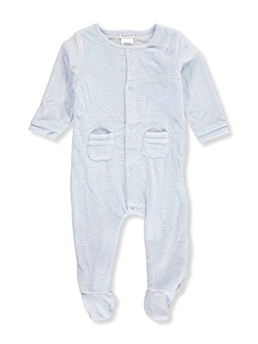 absorba Baby Boys' Velour Footed Coverall - Blue, 3-6 Months Infant Baby Boys Velour Coverall