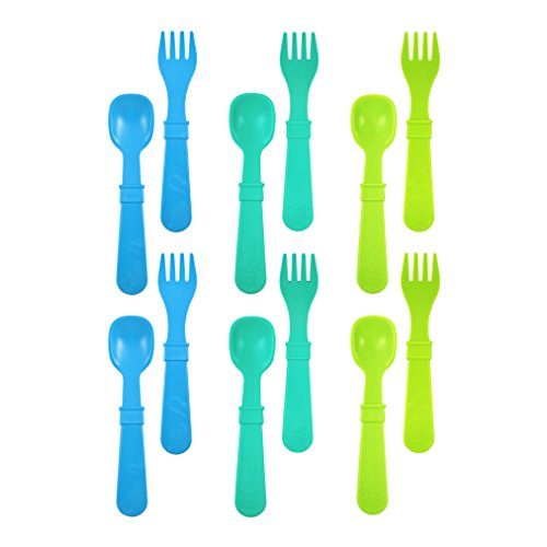 Re-Play Made in USA 12pk Toddler Feeding Utensils Spoon and Fork Set for Easy Baby, Toddler, Child Feeding - Sky Blue, Aqua, Lime (Under The Sea) 6 Spoons/6 Forks
