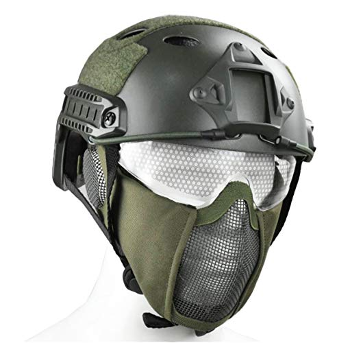 JFFCESTORE PJ Type Tactical Multifunctional Fast Helmet with Visor Goggles and Foldable Adjustable Half Face Mesh Mask(Green) (Best Helmet Goggle Combination)