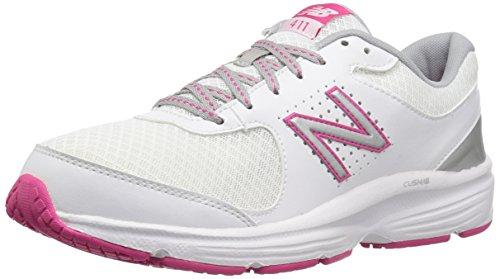 New Balance Women's WW411v2 Walking Shoe, White/Pink, 8 B US - Pink Balance