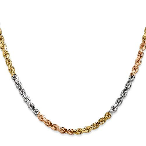 - 14K Tri-color Gold 3MM Diamond Cut Rope Chain Necklace Unisex Sizes 16