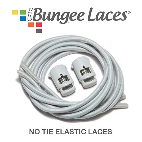 (iBungee No Tie Shoelaces (Elastic) (with Shoe Lace Locks) - Premium Stretch Laces - Easy Installation, Sized Bungee (Made in The USA), (Light Gray,)