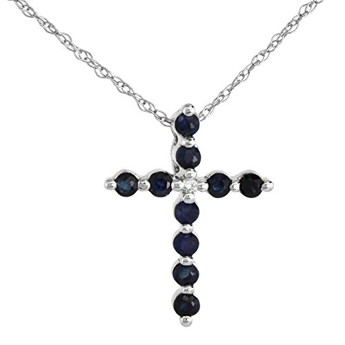 (Tiny 14k White Gold Blue Sapphire Cross necklace for Women Diamond Accent 5/8 Inch tall with 18 inch Thin Chain)