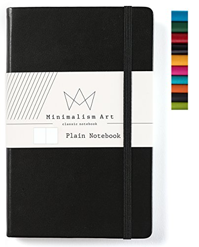 Minimalism Art, Classic Notebook Journal, A5 Size 5 X 8.3 inches, Black, Plain Blank Page, 192 Pages, Hard Cover, Fine PU Leather, Inner Pocket, Quality Paper-100gsm, Designed in San Francisco