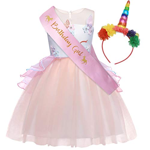 AmzBarley Unicorn Costume for Girls Princess Deluxe School Fancy Party Ball Cosplay Role Play Tutu Dress Up Outfits with Unicorn Headband and Sash Christmas Peach Pink Size 10 ()