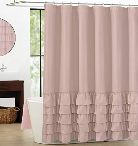 (WestWeir Ruffle Shower Curtain - Blush 72