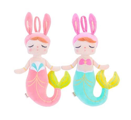 SANDAO MeToo Mermaid Plush Toys ,Mermaid Stuffed Animal Doll ,Angela Plush Rabbit Gift Dolls 15 Inch (2 Pack Pink+Green)