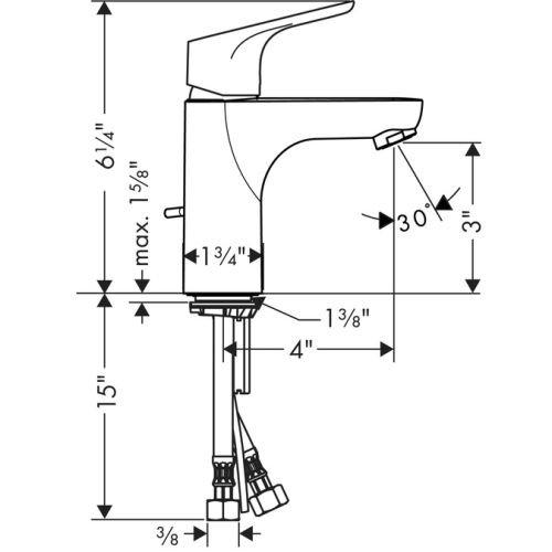Hansgrohe 4371000 Focus E 100 Single Hole Faucet, Chrome