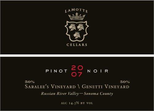 LaMotte Cellars Pinot Noir Saralee's Vineyard / Genetti Vineyard Russian River Valley Sonoma County