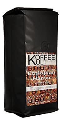 Koffee Kult Ethiopian Harrar Coffee - Fresh Gourmet Aromatic Artisan Blend - 1 Lb Bag