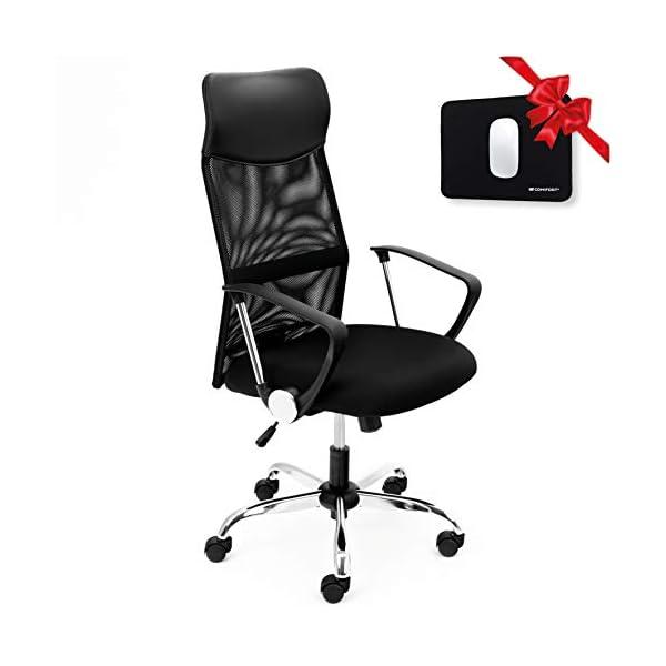 COMIFORT Chaise de bureau en maille avec appuie-tête en similicuir, chaises de bureau ergonomiques en maille haute pour…
