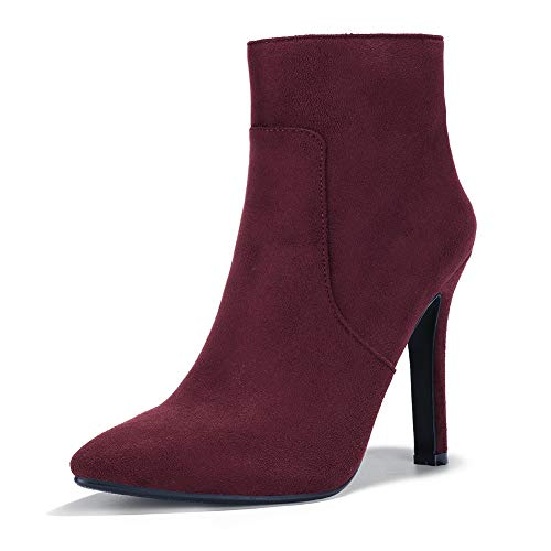 IDIFU Women's Vivian Classic Pointed Toe Ankle Booties High Stiletto Heels Side Zipper Short Boots (10, Wine Red Suede)