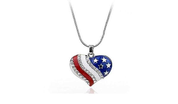 Crystal Diamante American USA Flag Star Heart Pendant Patriotic Bib Necklace Hot
