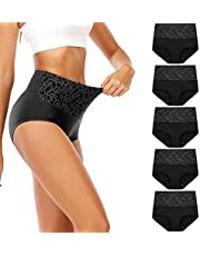 Senllori Women High Waisted Cotton Underwear Tummy Control Briefs Ladies Soft Full Coverage Panties Multipack