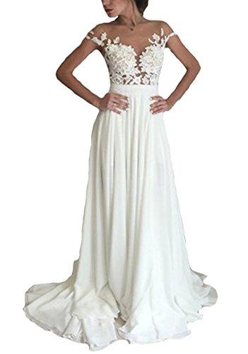 Dearta Women's A-Line Scoop Side Slit Sweep Train Wedding Dresses White US 2