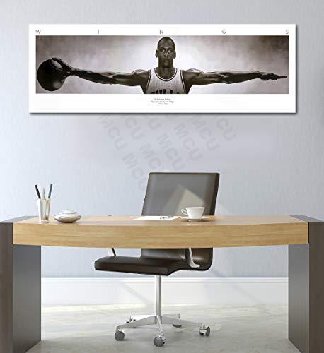 Michael Jordan Wings - Michael Jordan Wings Panoramic& 100 Bill Cash Poster Canvas Print Home Decor Wall