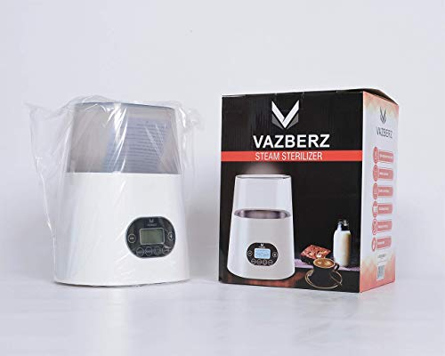 Baby Bottle Sterilizer & Warmer for Breastmilk with High Temperature Steam Sterilizer, Stainless Steel Liner, Double-Screen Display, LCD Intelligent Display, Intelligent Dry Burning, Intelligent Touch by VAZBERZ
