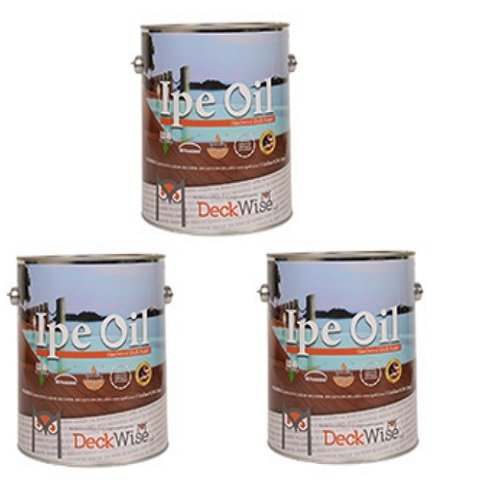 DeckWise Ipe Oil Hardwood Deck Finish, UV Resistant, 3 Cans, 1 Gallon Each